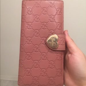 Auth Gucci Guccissima Bifold Long Wallet Heart